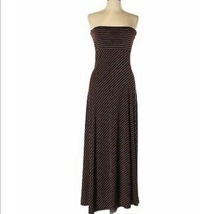 Alyn Paige tube dress brown/white stripes